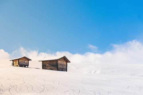 shelter houses covered snowfield cabin