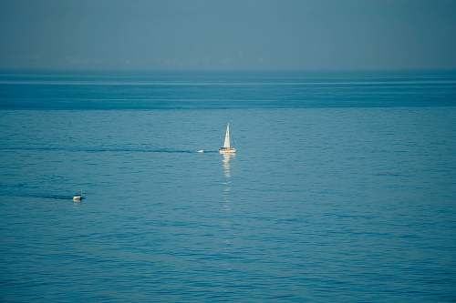 vehicle white sailboat on body of water across horizon vessel
