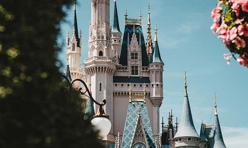 castle white and blue castle architecture