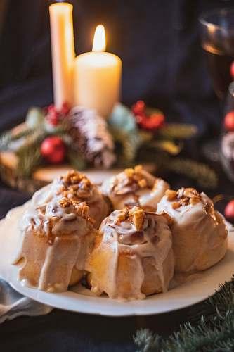 food breads on plate dessert