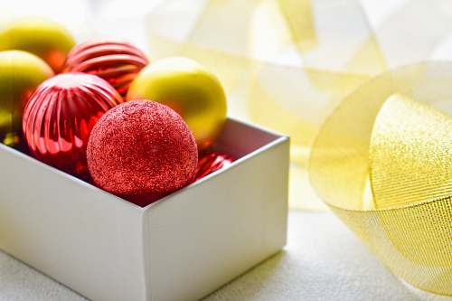 confectionery red and brown baubles on box sweets