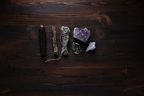 magic flat lay photography of geodes crystal