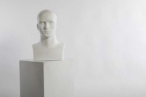 sculpture man white head bust art