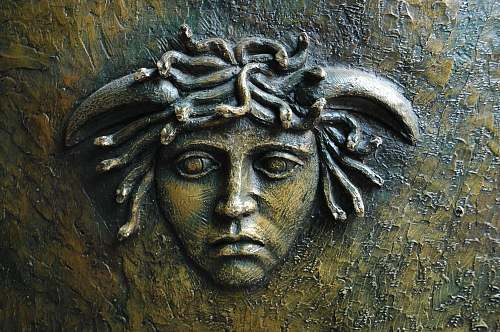 bronze Medusa head art art
