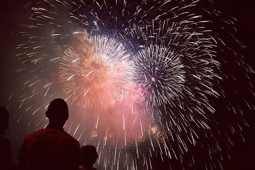 nature people watching fireworks outdoors