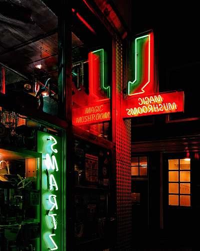 lighting green and red Magic Mushrooms neon light signage neon