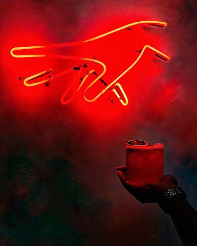 neon red hand neon sign one half coffee bar