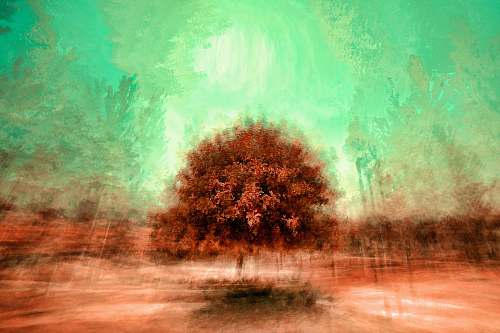 outdoors painting of brown tree landscape