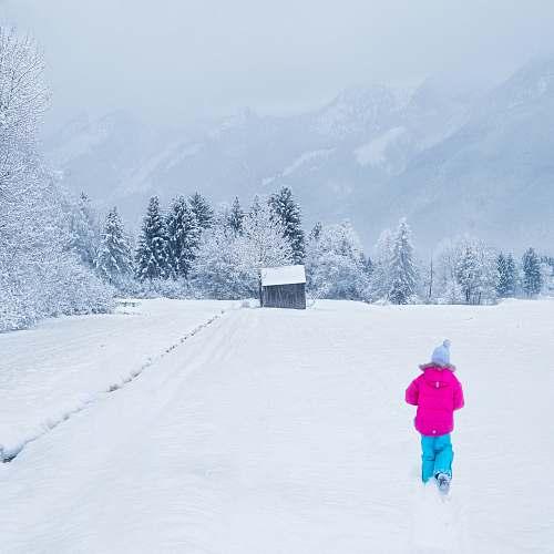 person person in purple jacket walking towards cabin snow