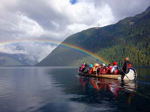 human photography of people riding brown boat during daytime boat