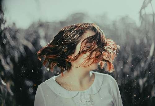 human woman wearing white scoop-neck collared sh irt people