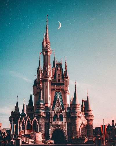 architecture blue and beige Disneyland castle spire