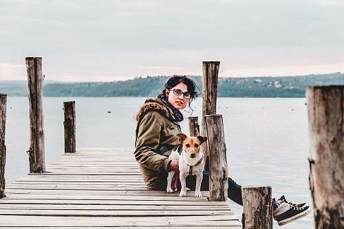pier woman sitting on brown wooden dock with dog waterfront