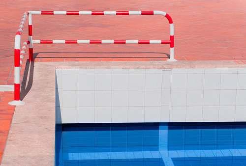 morocco red and white stripe pool rail cone