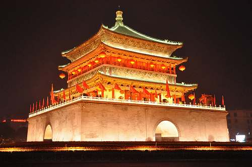 china temple during nighttime building