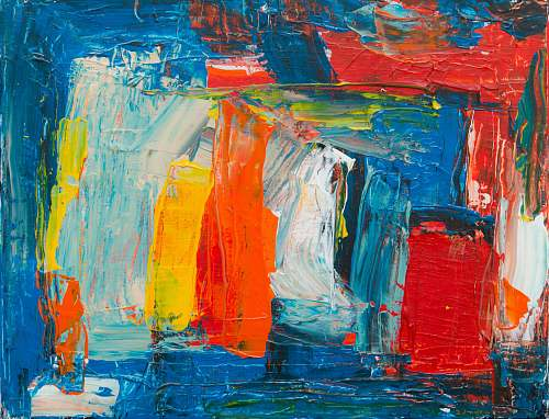 painting red, yellow, white, and blue abstract painting modern art