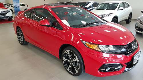 transportation red Honda Civic coupe on display vehicle