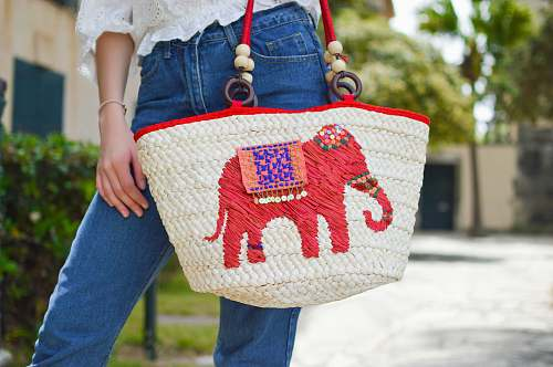 purse person holding white and red elephant graphic tote bag close-up photo accessories