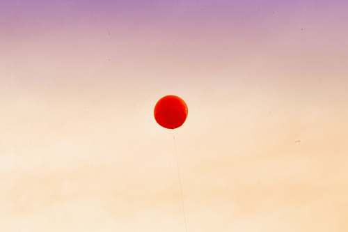 red red balloon floating away the sky balloon