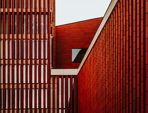 handrail red and white building perspective building
