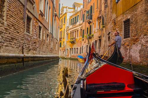 gondola man on canoe in Venice Grand Canal transportation