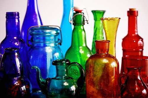 pottery multicolored glass bottles vase