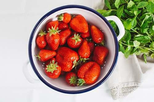 fruit strawberries in ceramic bowl food