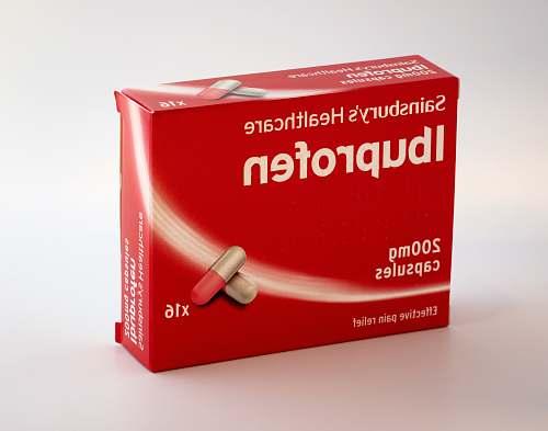 red 200 mg Sainsbury's healthcare Ibuprofen capsules box medication