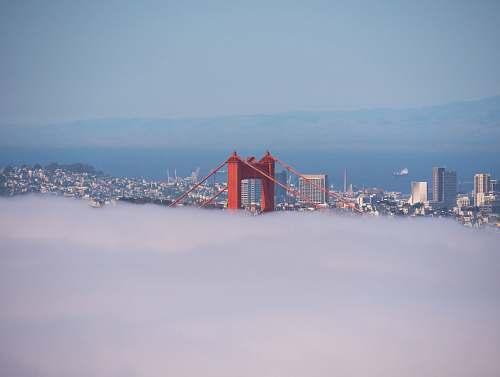 sky red suspension bridge golden gate bridge