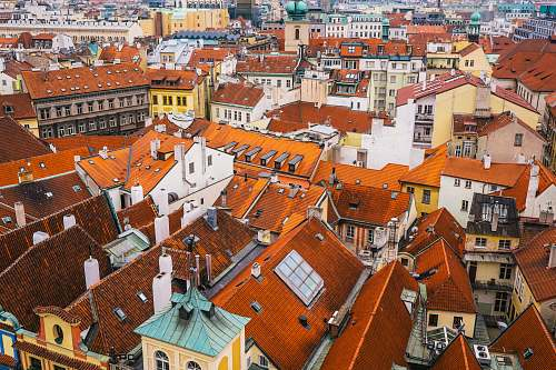 urban aerial photo of multicolored houses town
