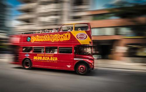 vehicle red and yellow bus photo double decker bus