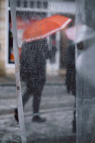 walking clear plastic coat with water drops showing people using umbrella asphalt