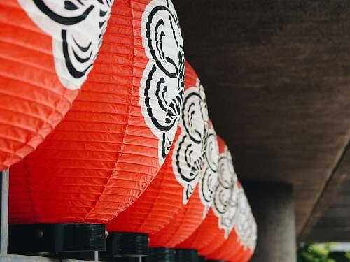 umbrella red paper lantern tokyo