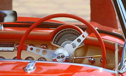 automobile classic red and white car interior vehicle