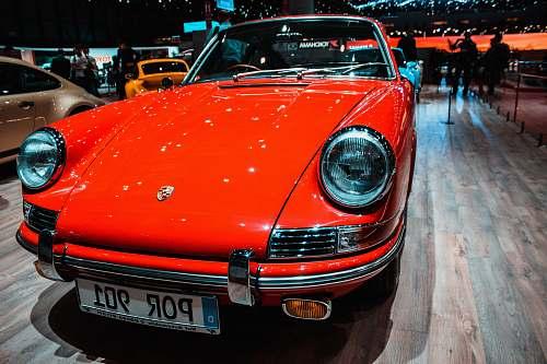 automobile classic red Porsche car transportation
