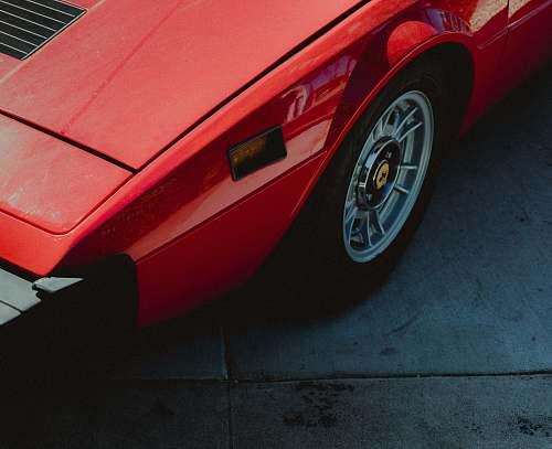 vehicle red car wheel