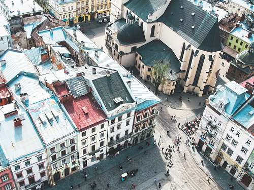 lviv aerial photography of buildings aerial view