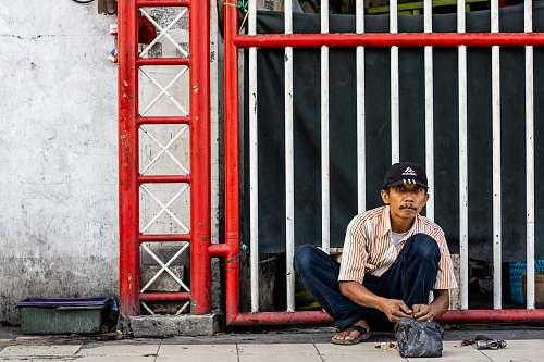 apparel man near gate footwear