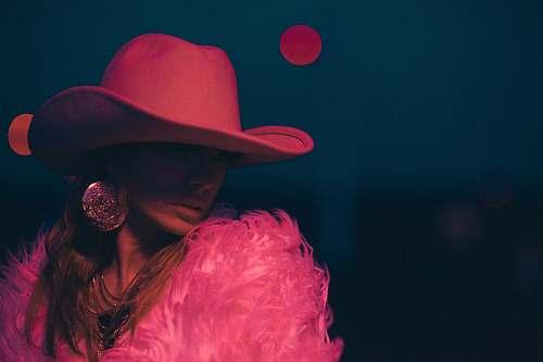 apparel woman wearing pink cowboy hat hat