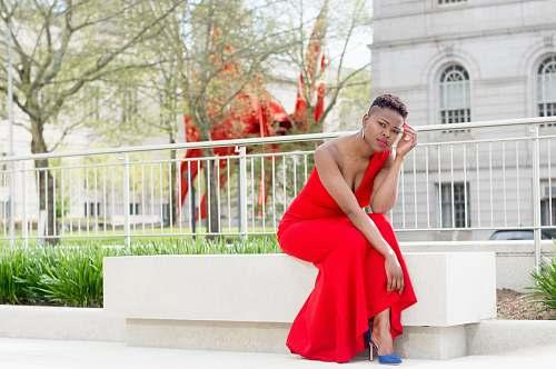apparel women wearing red dress fashion