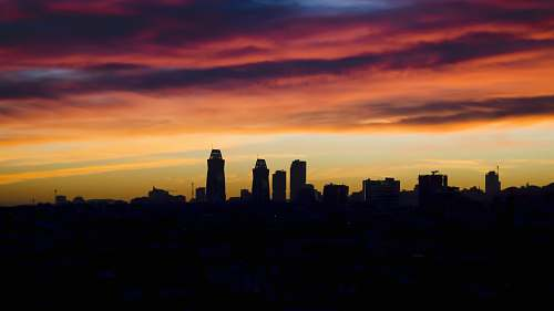 sunrise silhouette of buildings during orange sunset sky