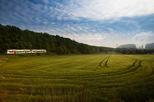 germany grassland surrounded with trees near train tracks with train green