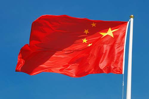 symbol waving flag of China red