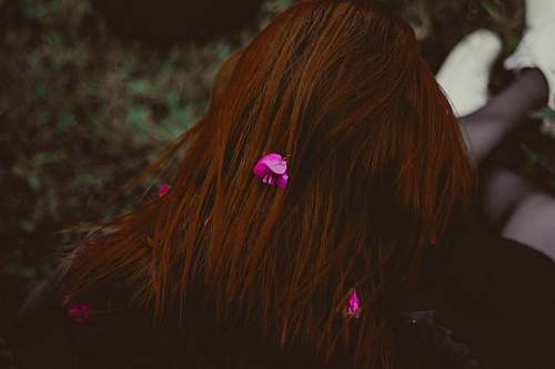 hair human hair with pink flowers red