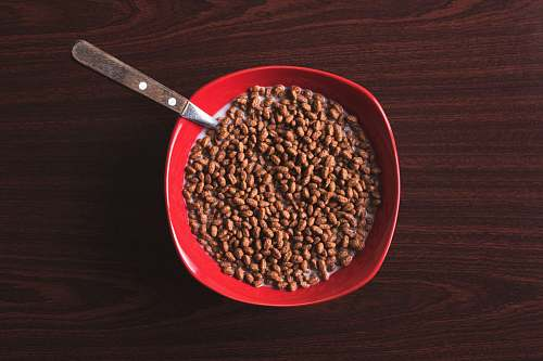 bean bowl of cereal with spoon on tabletop flora