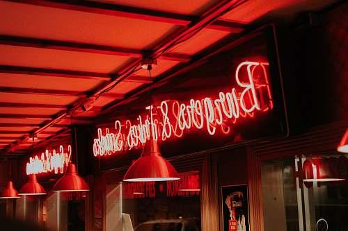 restaurant orange neon signage light