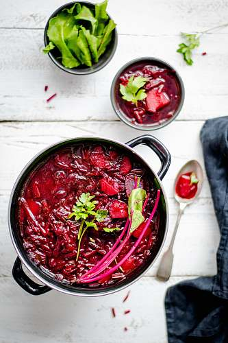 beetroot pot of red sauce food flat lay