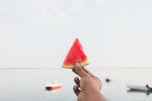 watermelon person holding sliced watermelon flora
