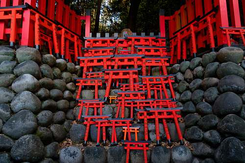 temple low-angle photography of red stair kyoto