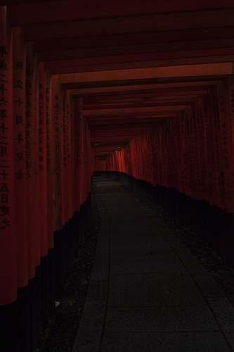 torii Kanji script tunnel japan